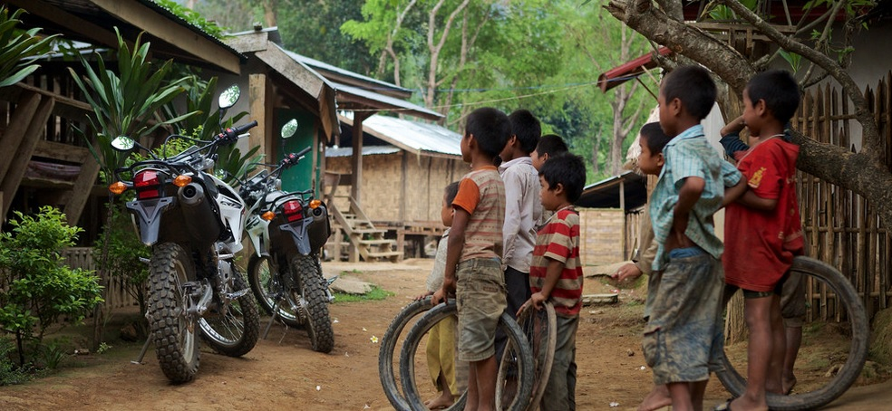 Motorbike Laos kids village